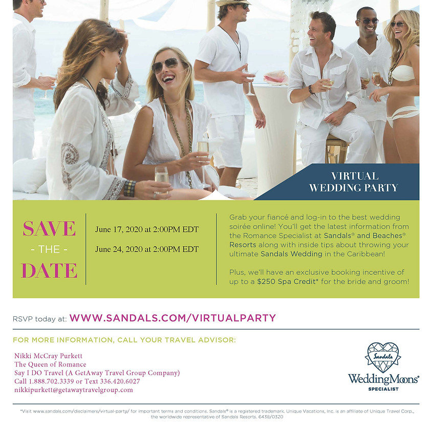 Sandals and Beaches Virtual Destination Wedding Party