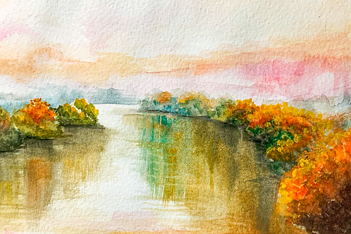 Autumn River (Watercolor Art Print)