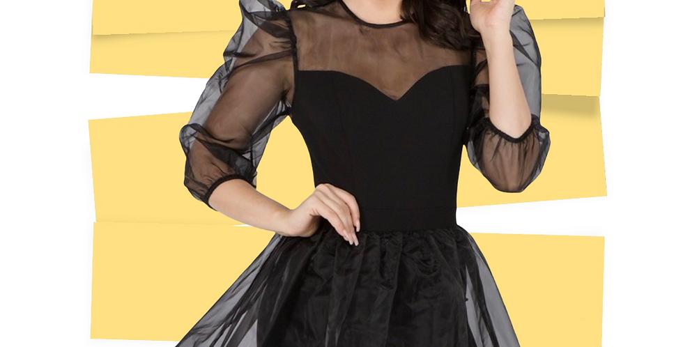 Mesh Flare Mini Dress