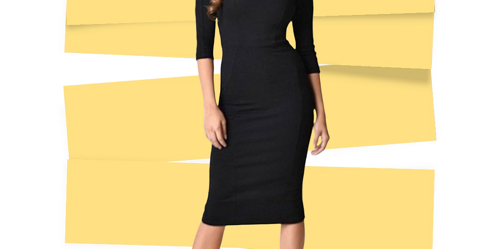 Vintage Inspired Fitted Midi Dress