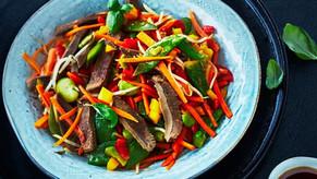 De la langue de bœuf, des légumes, un wok et le tour est joué !
