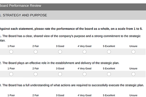 Board Performance Review Survey Template