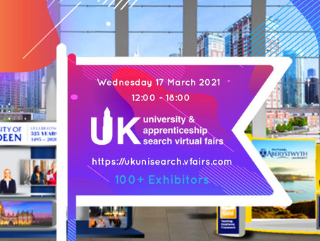 UK University & Apprenticeship Search Virtual Fair on Wed 17/3/21, 12 - 6pm (Years 11,12 & 13)
