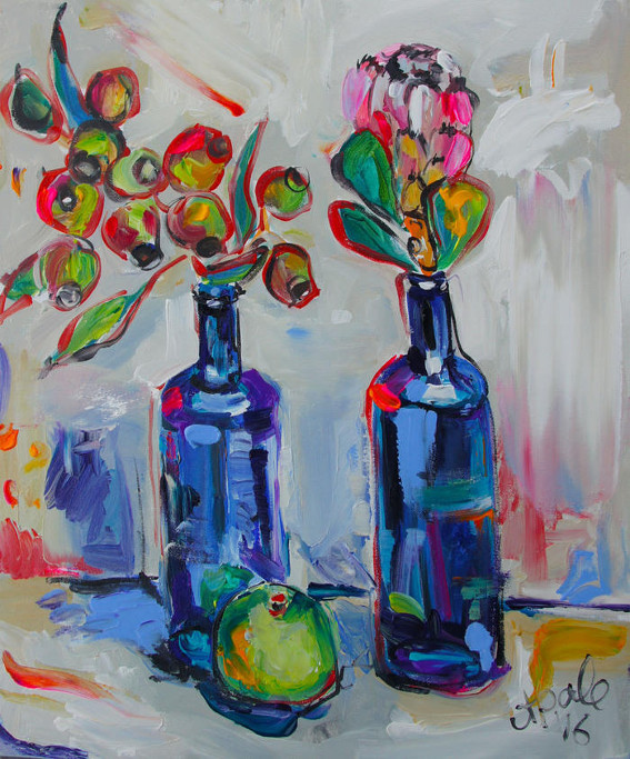 Still Life with two blue bottles