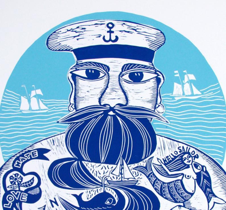 linocut sailor