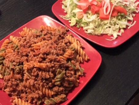 Ground Turkey Garden Rotini Pasta (Recipe)