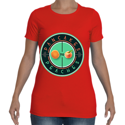 Women's Cut Crew Neck Tee (Red/Jade)