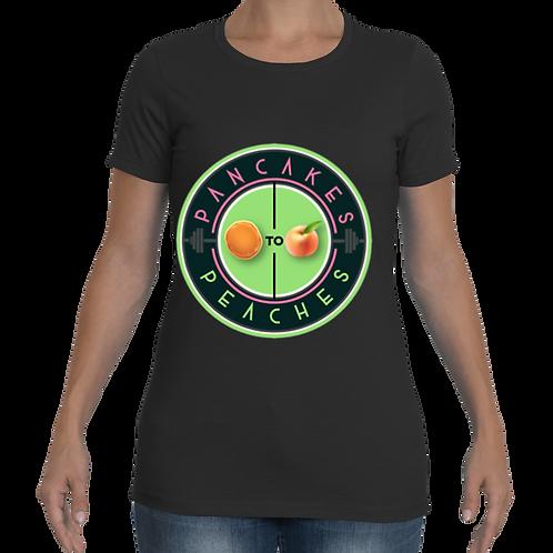 Women's Cut Crew Neck Tee (Black/Apple)