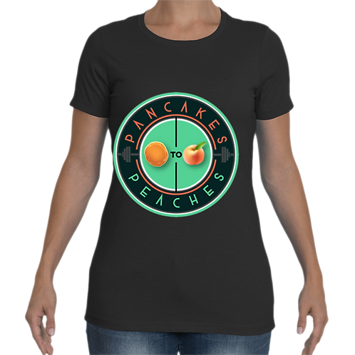 Women's Cut Crew Neck Tee (Black/Jade)