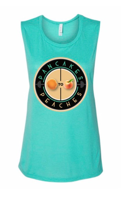 Scoop NeckMuscle Tank (Teal/Peach)
