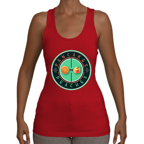 Stretchy Jersey Racerback Tank (Red/Jade)