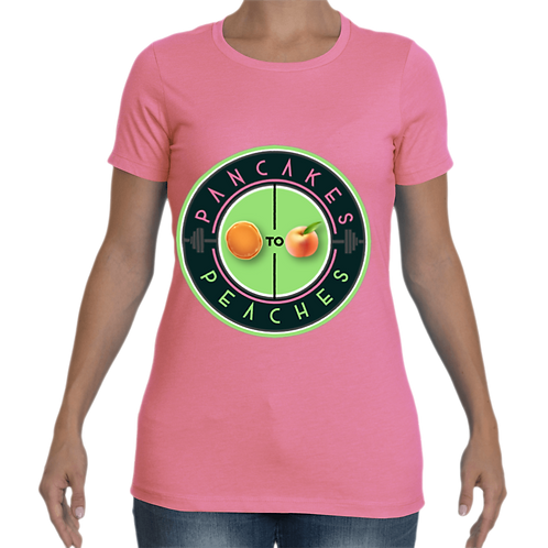 Women's Cut Crew Neck Tee (Pink/Apple)
