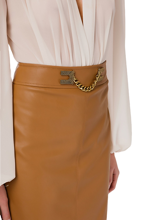 Elisabetta Franchi - Faux leather midi skirt with gold detailing - Brown