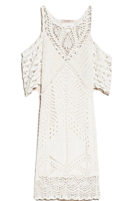 Twinset Embroidered crochet sheath dress with fringes