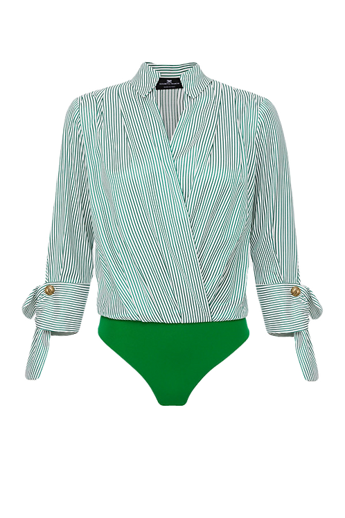 Elisabetta Franchi striped bodysuit-style blouse