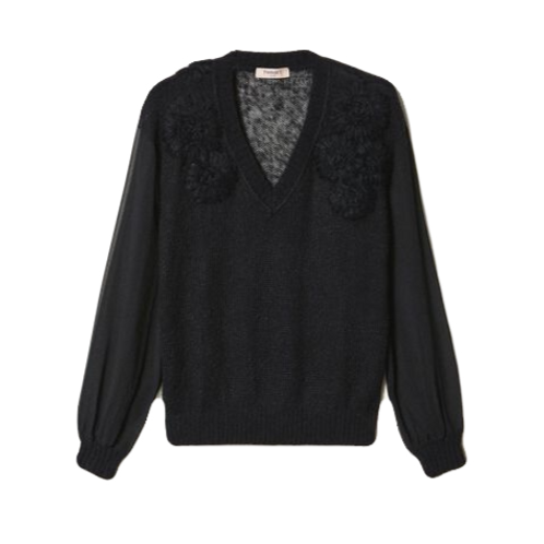 Elisabetta Franchi - Mohair jumper with embroidery Black
