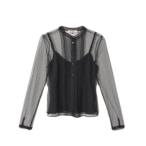 TWINSET - Tulle and lace shirt
