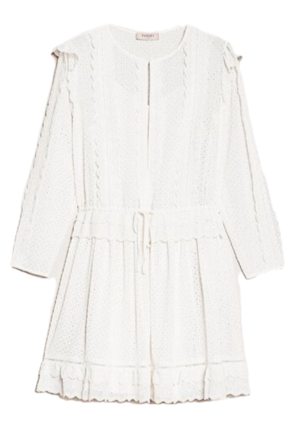 Twinset Broderie anglaise dress with drawstring