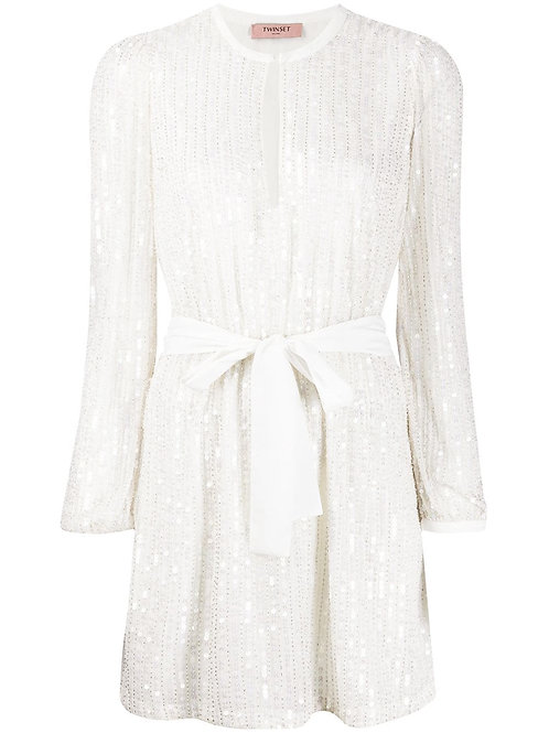 Twinset Dress Pailletten Avorio