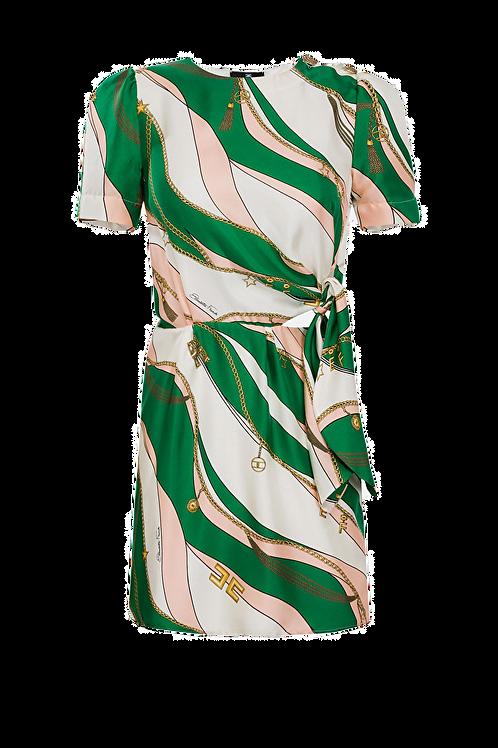 Elisabetta short twill dress with sash belt