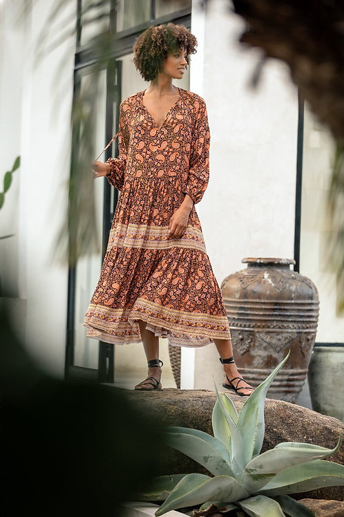 Beach Gold Autumn midi dress paisley