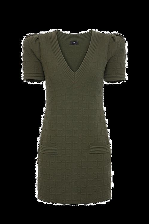 Elisabetta Franchi - Boxy mini dress with puffy sleeves green