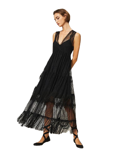 Twinset - tulle long dress with lace and fringes