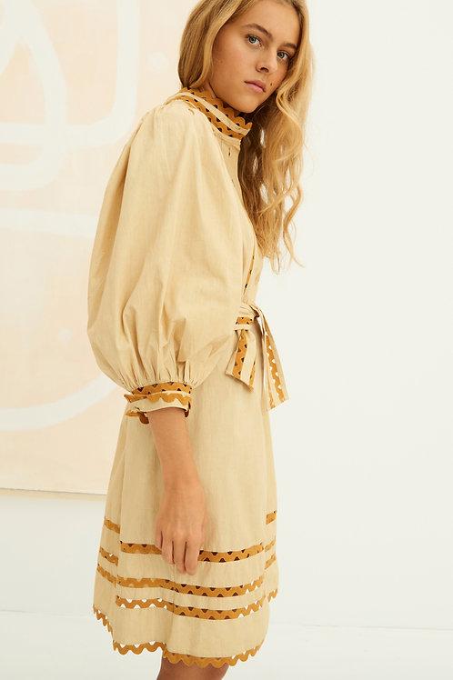 Antik Batik mali poplin puff sleeve dress beige 013486