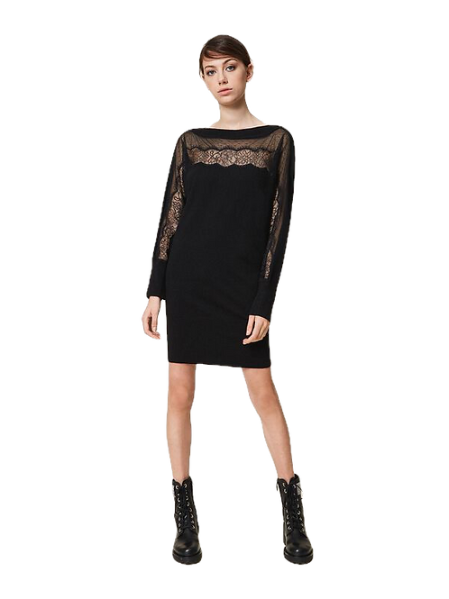 Twinset - knitted dress with tulle and lace
