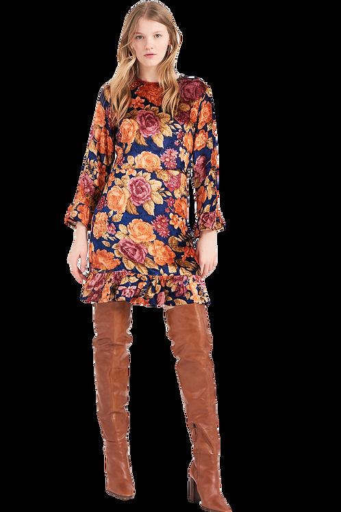 Antik Batik - Camino Floral Print Dress - Navy Blue 012760