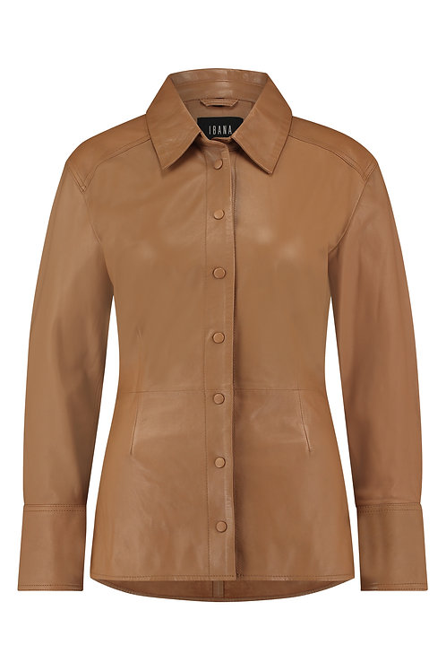 IBANA Leather blouse Tem toasted tan