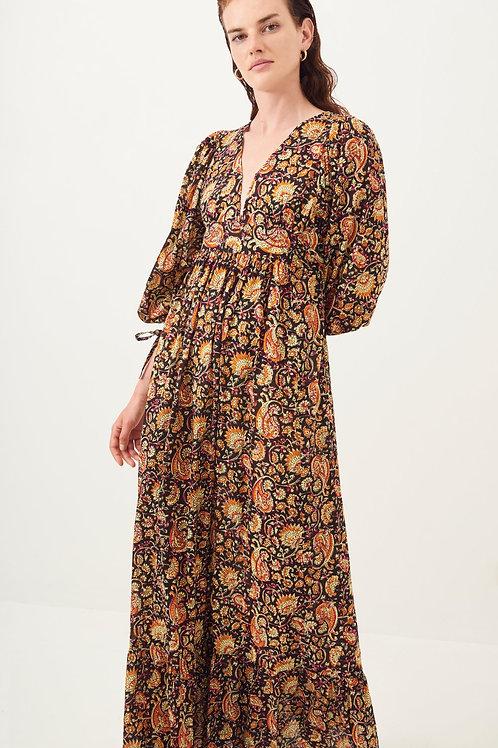 Antik Batik Chérie Printed Flowing Maxi Dress - Black