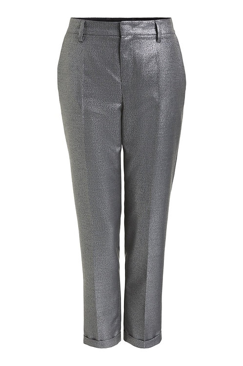 SET - Pressed crease trousers with a fancy silver metallic look