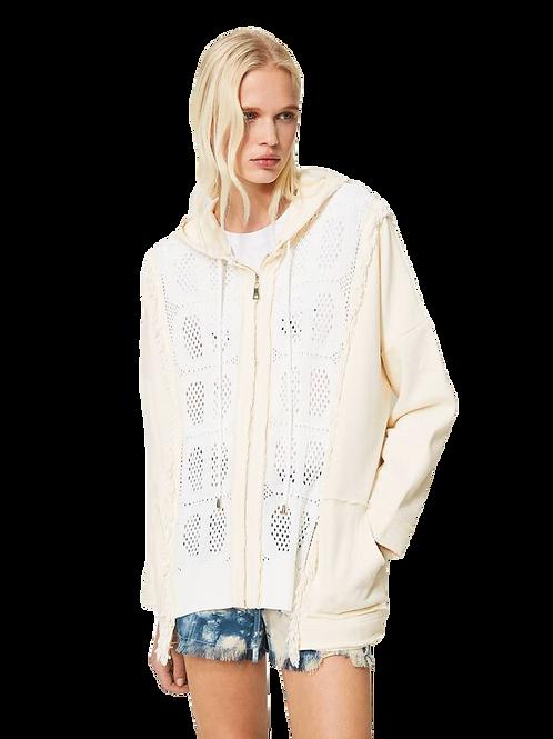 Twin-set plush fabric cardigan 013601