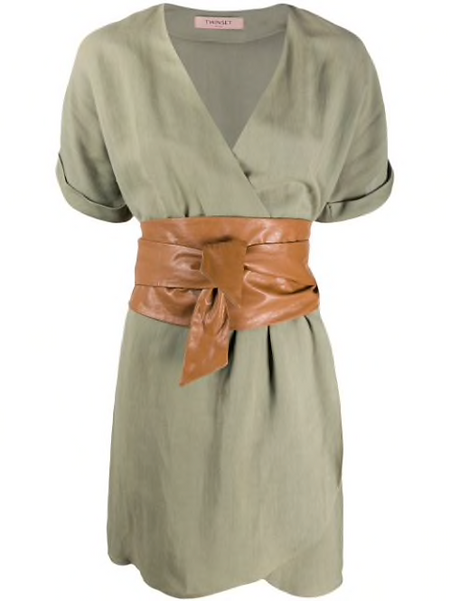 TWINSET canvas and faux leather dress