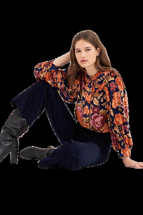 Antik Batik - Camino Floral Print Blouse - Navy Blue 012762