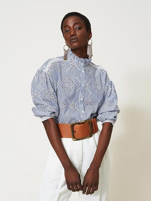 Twin-set Poplin shirt with broderie 013558