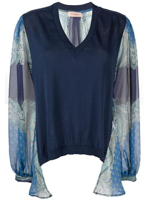 Twin-set woven sweater 013578