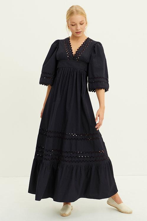 Antik Batik Mali poplin maxi dress navy 013474