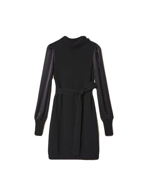 TWINSET - Wool blend dress with satin