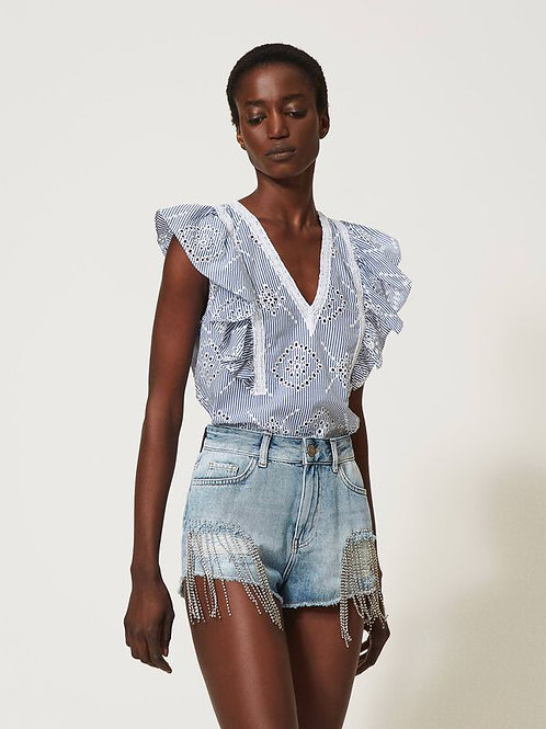 Twin-set poplin top with broderie