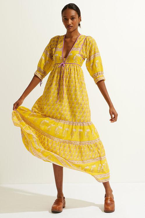 Antik Batik Mori printed maxi dress yellow