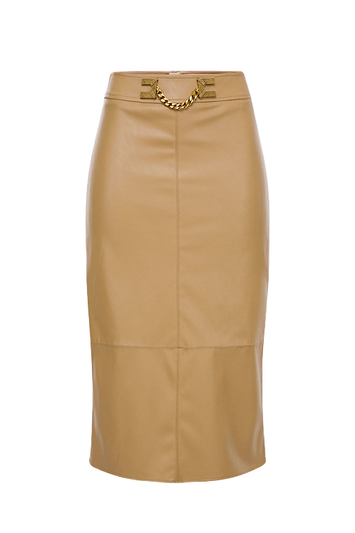 Elisabetta Franchi - Faux leather midi skirt with gold detailing