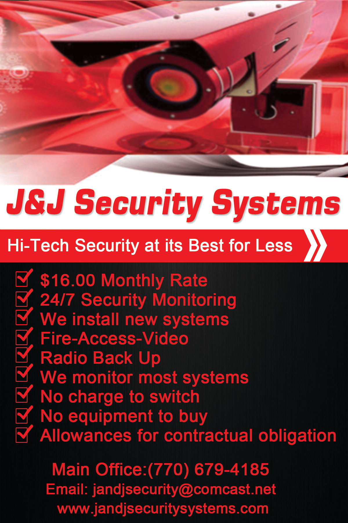 J & J Security Postcard Front