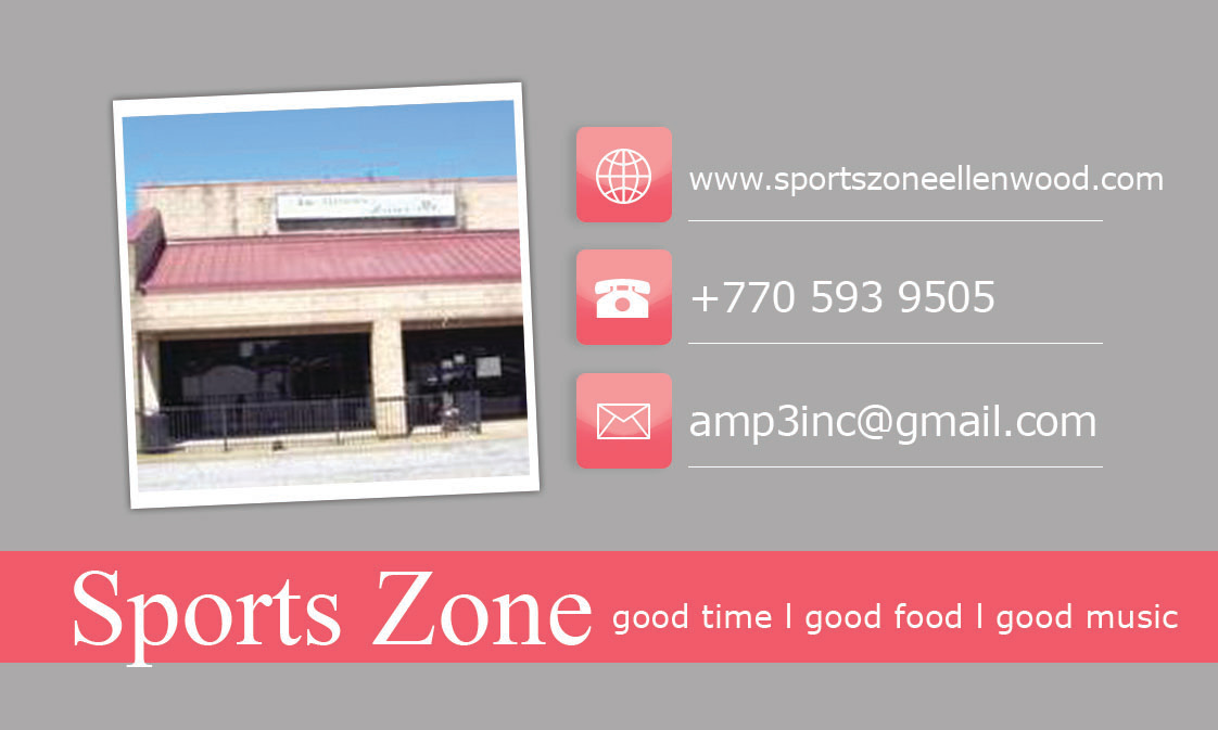 Sports Zone Business Card Back