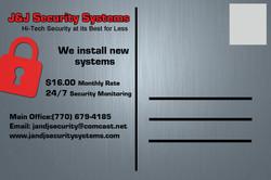 J & J Security Postcard Back