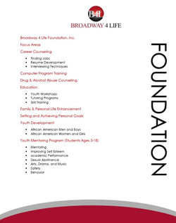 Broadway 4 Life Foundation Focus Are