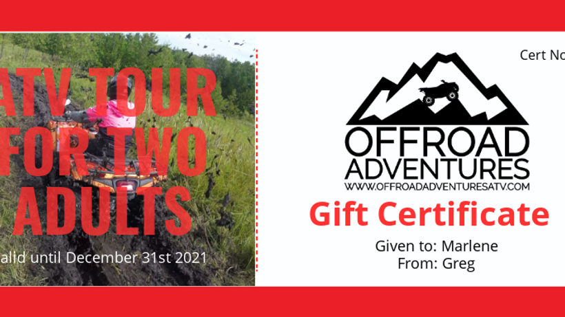 Offroad Adventures Gift Certificate