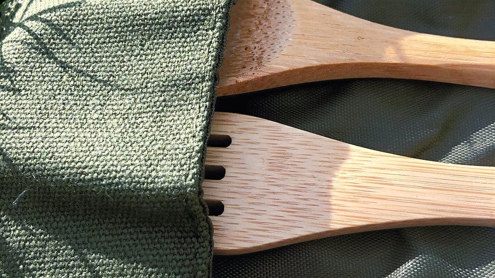 Bambukinių stalo įrankių rinkinys