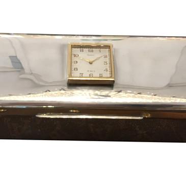 A Cartier silver & gold clock cigar box